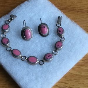 Jewelry - Pink agate & sterling bracelet and earrings set